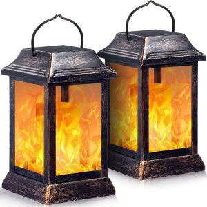 TomCare Flame Solar Outdoor Hanging Lanterns