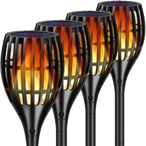 TomCare Solar Lights 2nd Version Flickering Flame Solar Torches