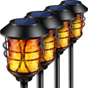 TomCare Solar Lights Metal Flickering Flame Solar Torches Lights